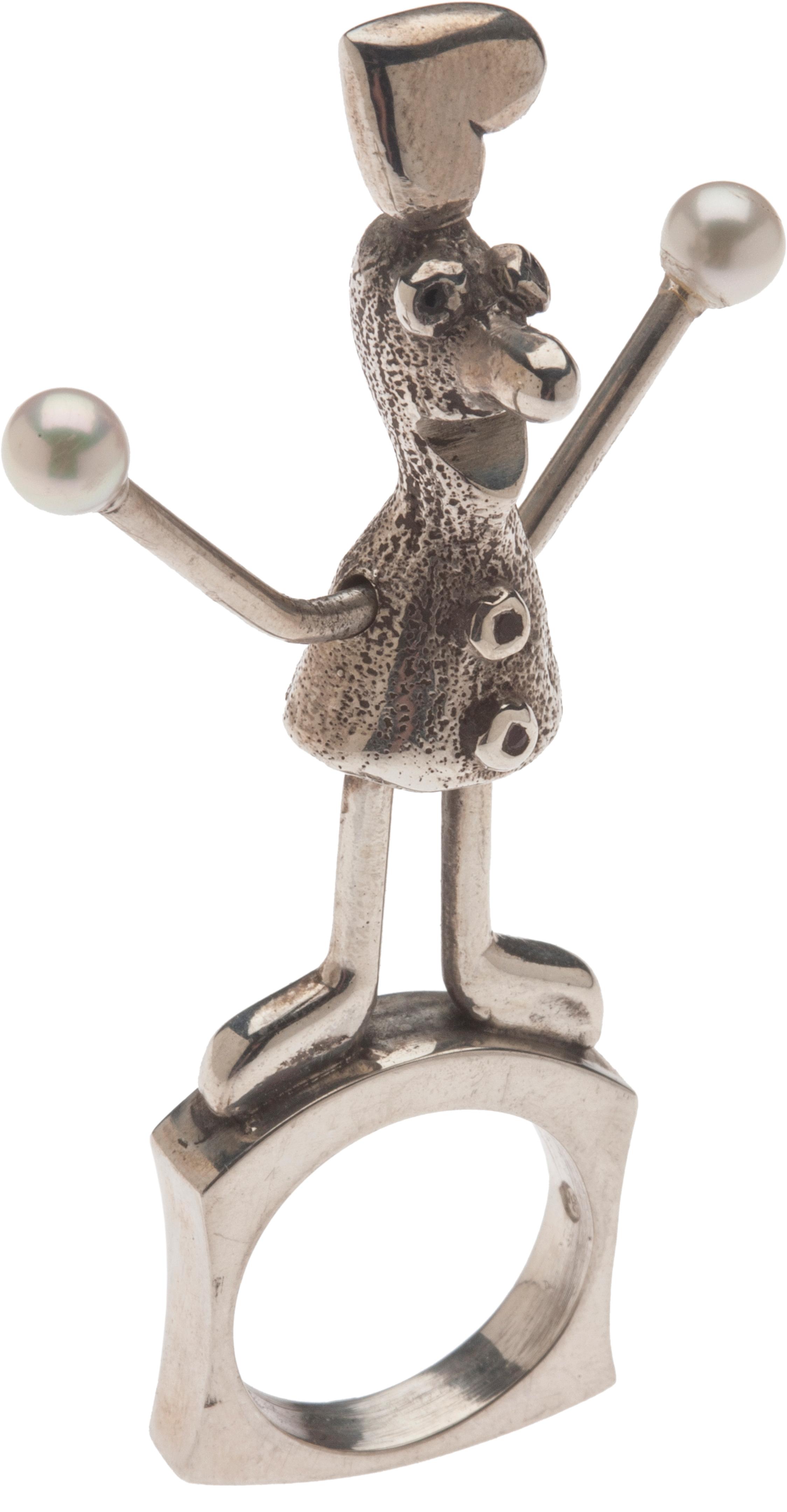 "sterling silver, pearls, inset jewels  3"" x 1.63"" x .63"""