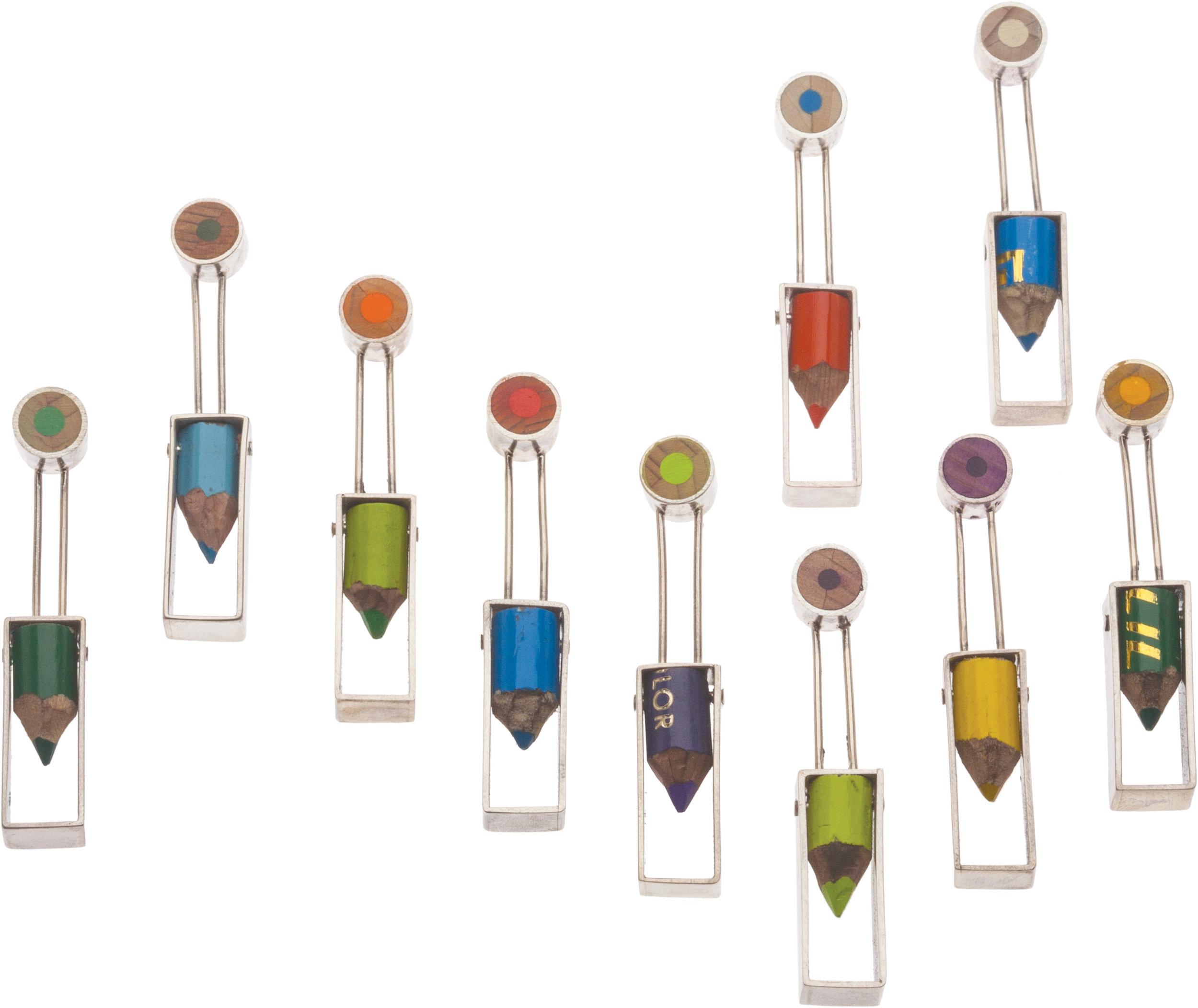"""Earrings   sterling silver, pencils  2"""" x .38"""" x .25"""""""