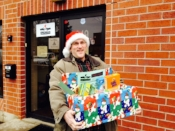 Delivering items from his annual food drive.