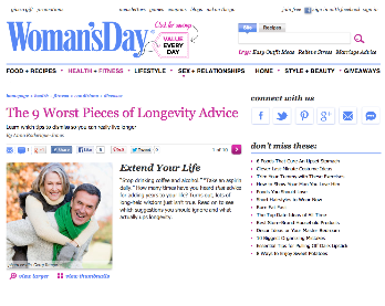 Woman's Day: The 9 Worst Pieces of Longevity Advice