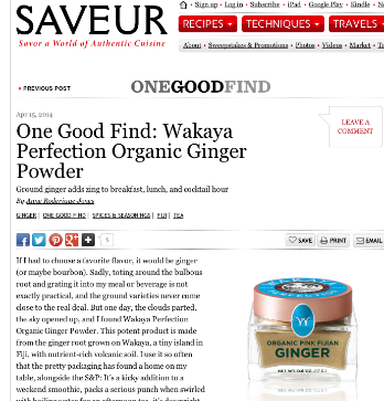 Saveur Magazine, One Good Find: Wakaya Perfection Organic Ginger Powder