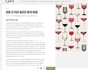 DuJour: How To Pair Water With Wine
