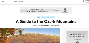 Condé Nast Traveler  : A Guide to the Ozark Mountains