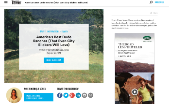 Conde Nast Traveler: America's Best Dude Ranches