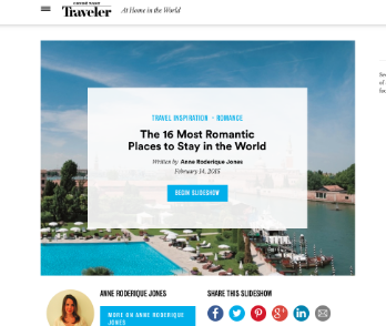 Conde Nast Traveler: The Most Romantic Hotels in the World