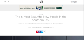 Architectural Digest: 6 Most Beautiful New Hotels in the South