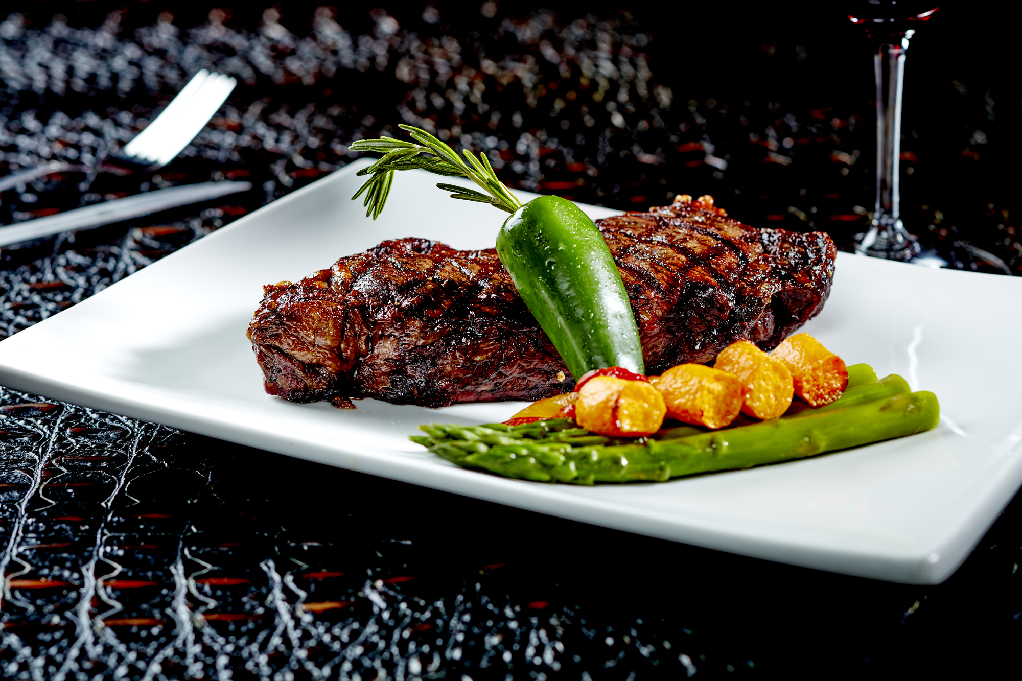 Grilled Kobe Strip Steak in Hawaiian Black Salt