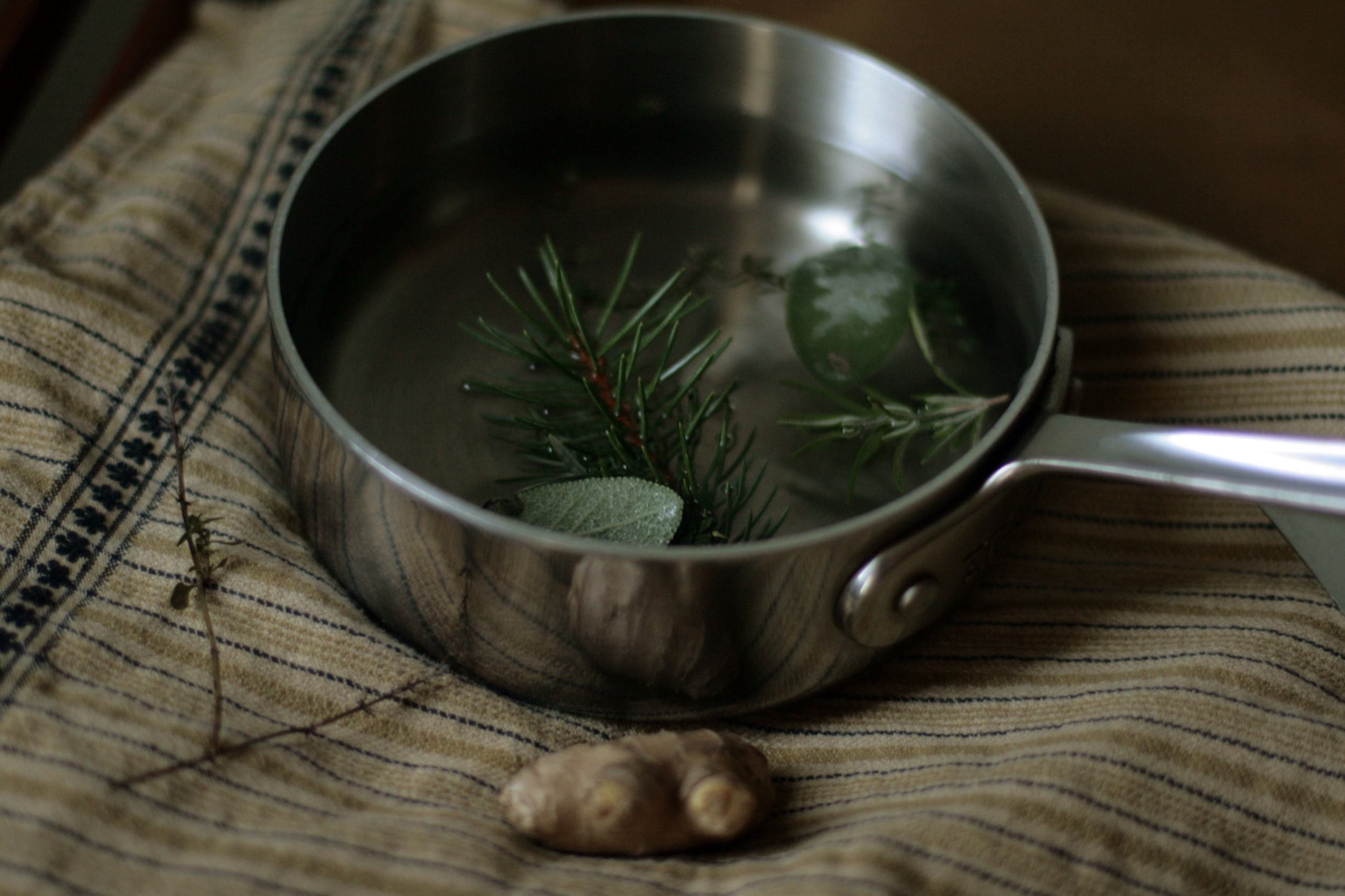 Healing tisane with ginger and herbs
