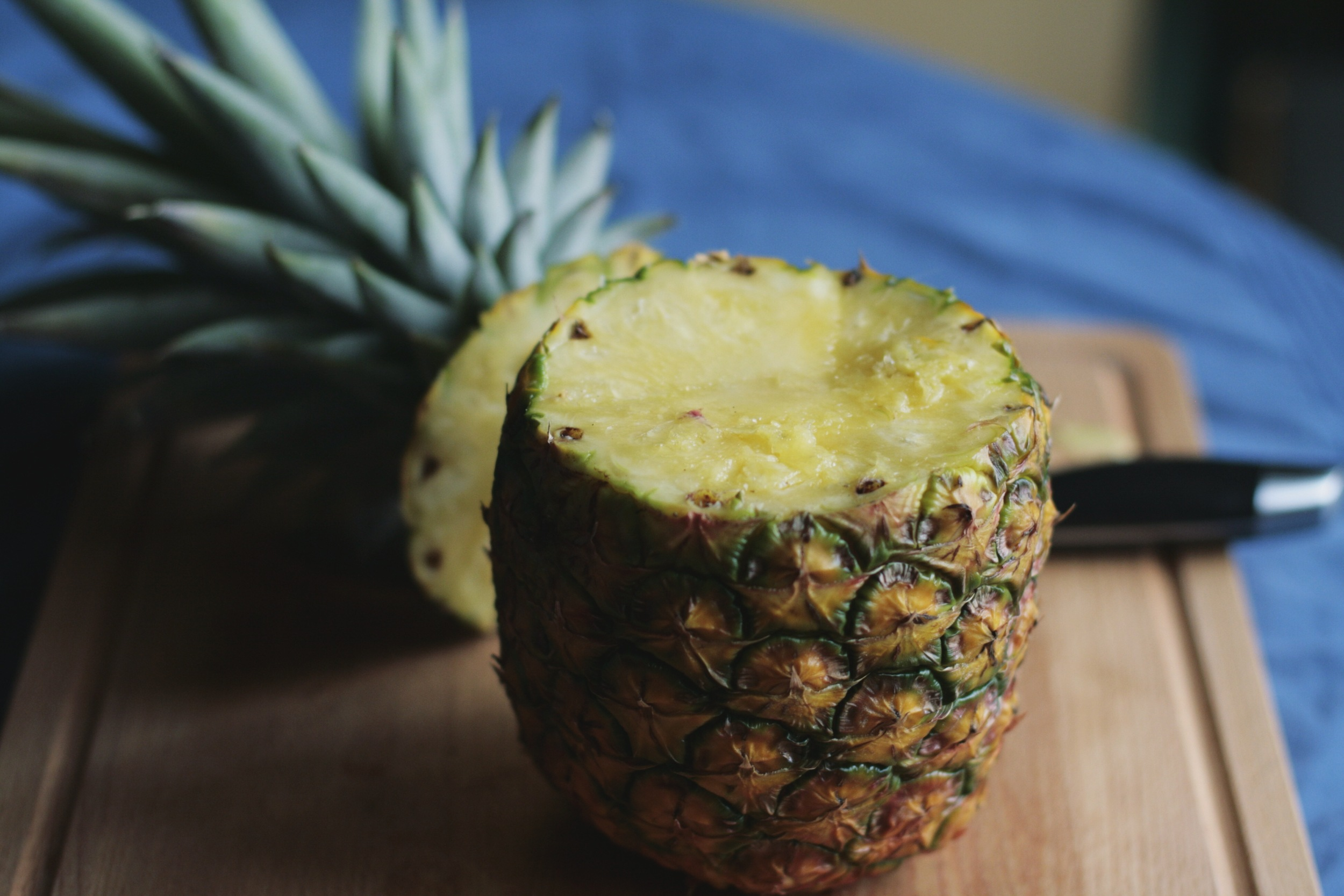 Preparing the pineapple