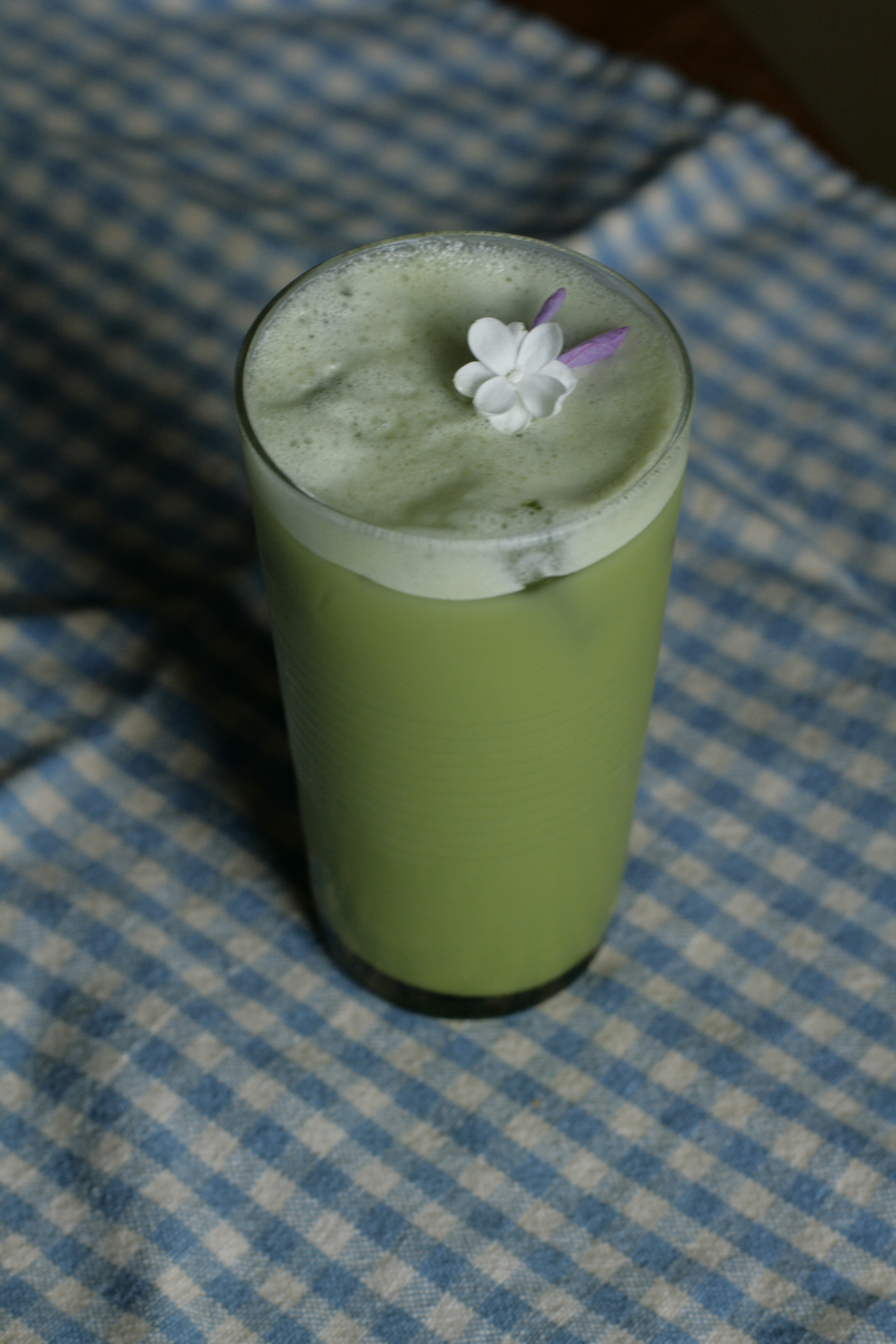 Matcha shakerato with lilac syrup