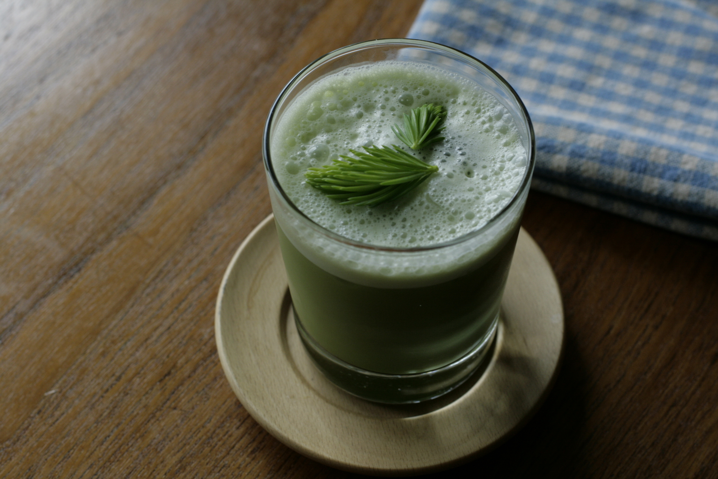 matcha shakerato with fir tip syrup