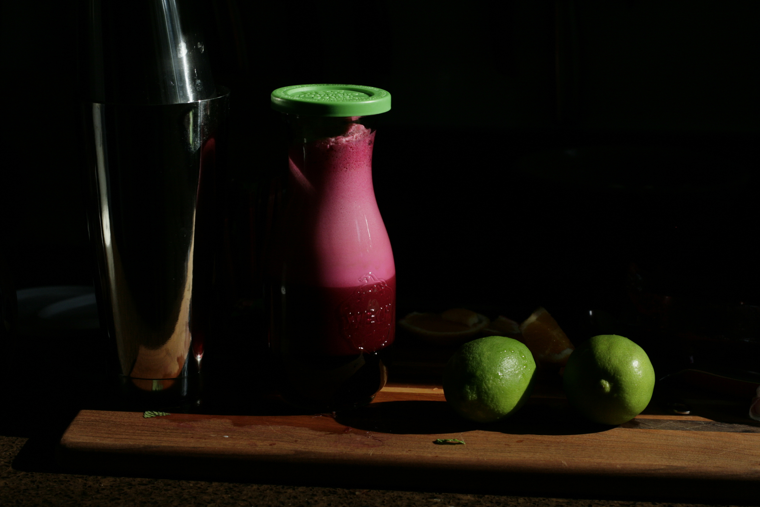 beet-apple-mint juice in the light
