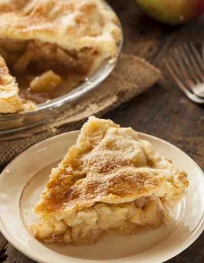 Delicious apple pie with a sharp cheddar crust