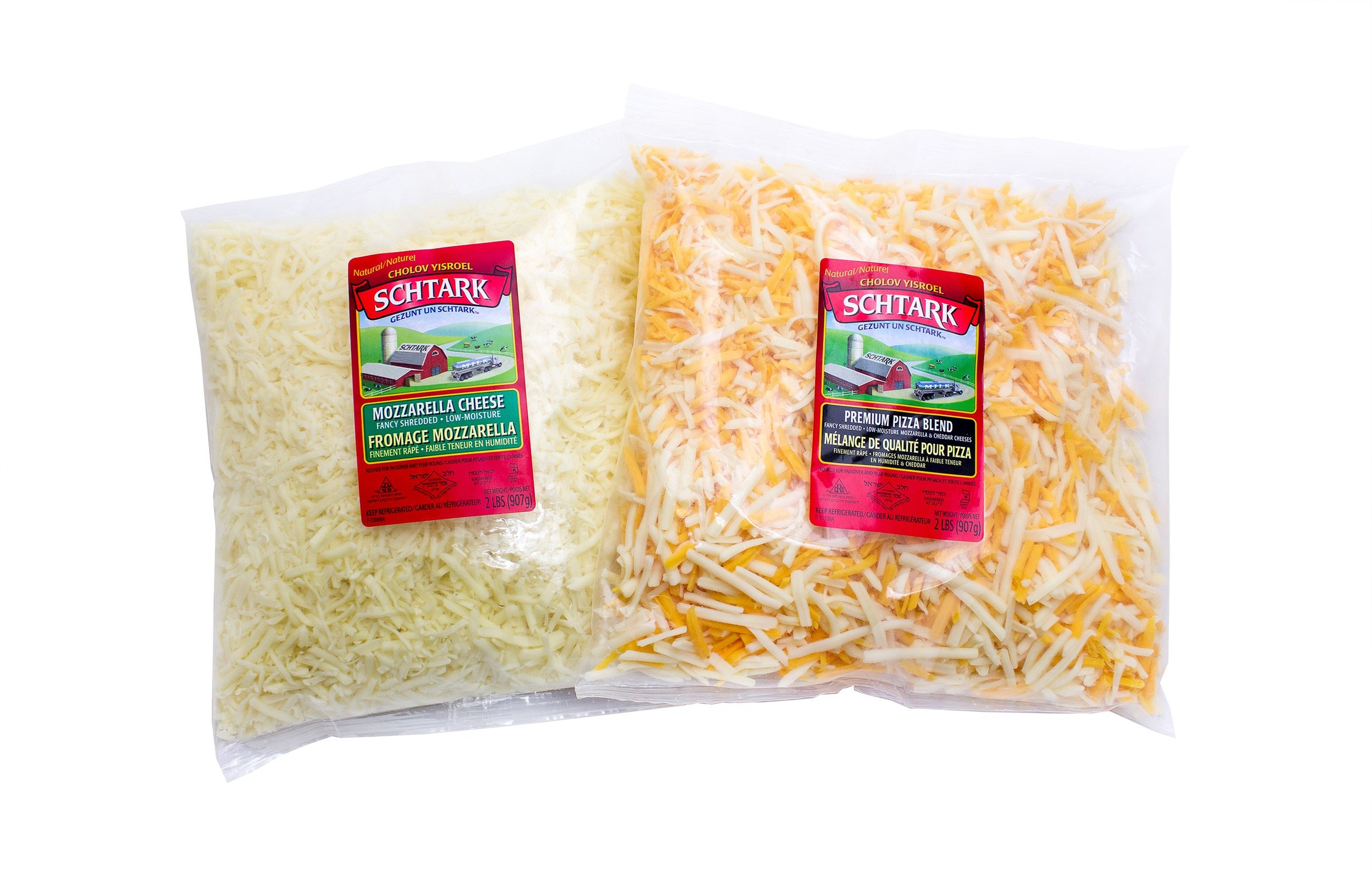 Mozzarella and Pizza Shredded Cheese Combo (2 lb. each, 2 pack)