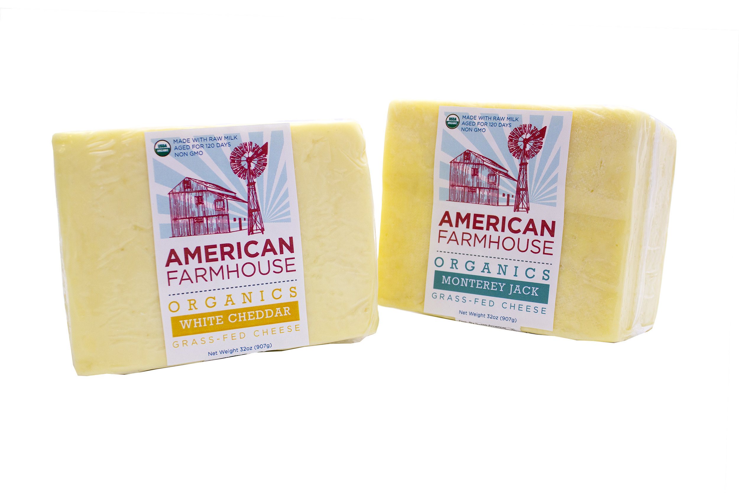 American Farmhouse, Organic, Raw, Grass fed, Non-GMO          White Cheddar and Meadow Jack Combo