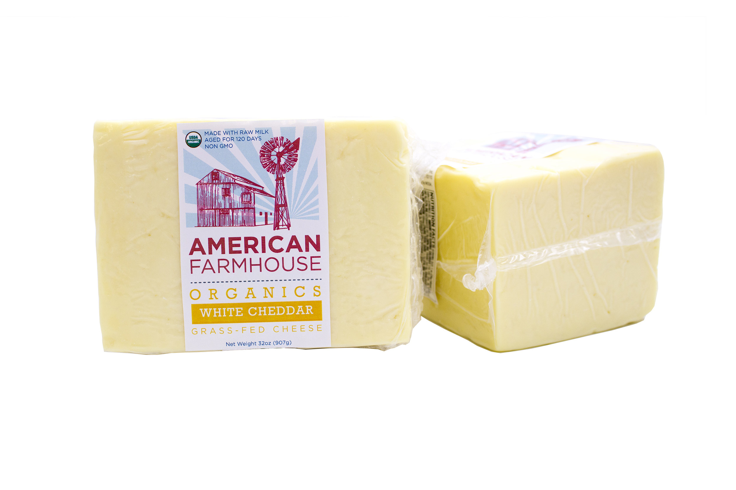 American Farmhouse, Organic, Raw, Grass fed, Non-GMO                  White Cheddar Cheese