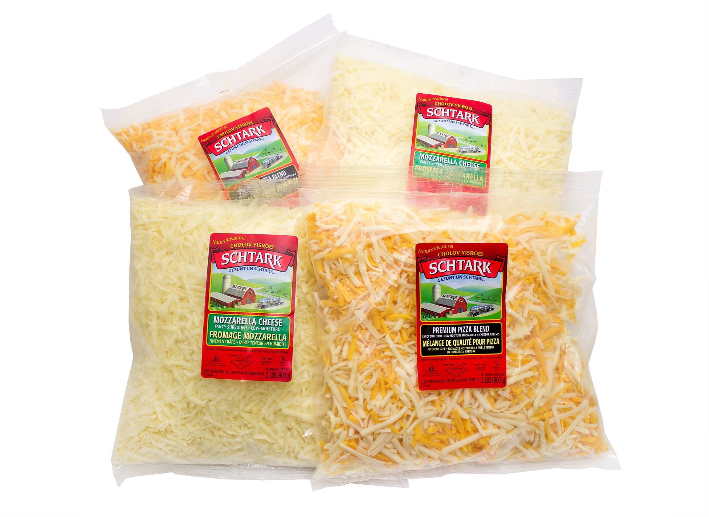 Schtark Super Kosher Mozzarella and Pizza Shred                  Cheese Combo (2 lb. each, 4 pack)