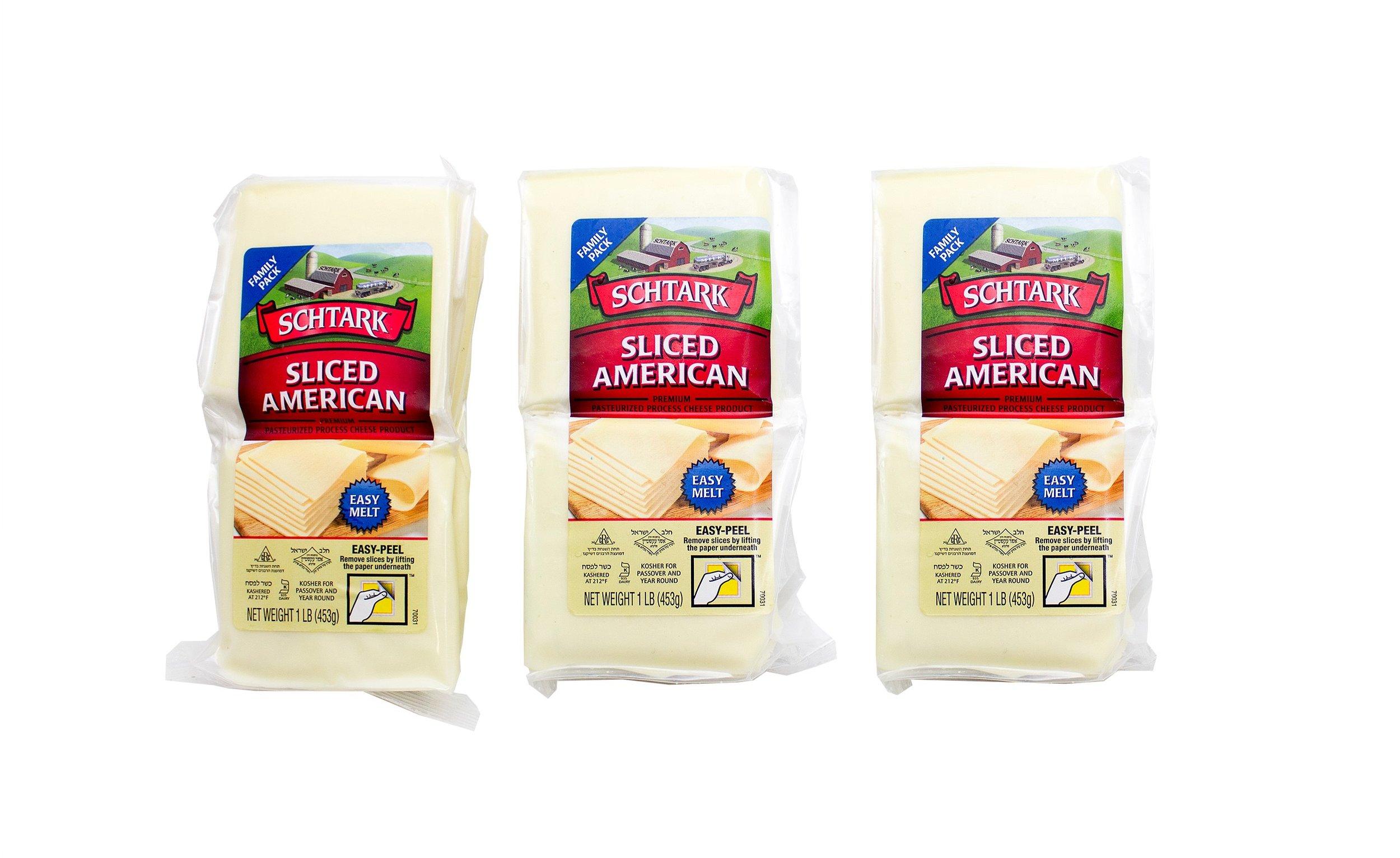 Schtark Super Kosher Cheese American Slices                        1 Pound (Pack of 3)