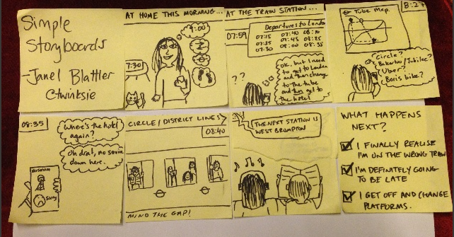 Janel Blattler  demonstrated how to whip up a quick storyboard using sticky notes.