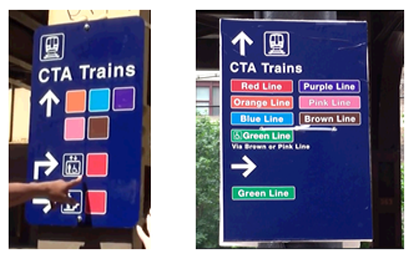 Chicago CTA trains indicated by color (left) and color + written label (right).