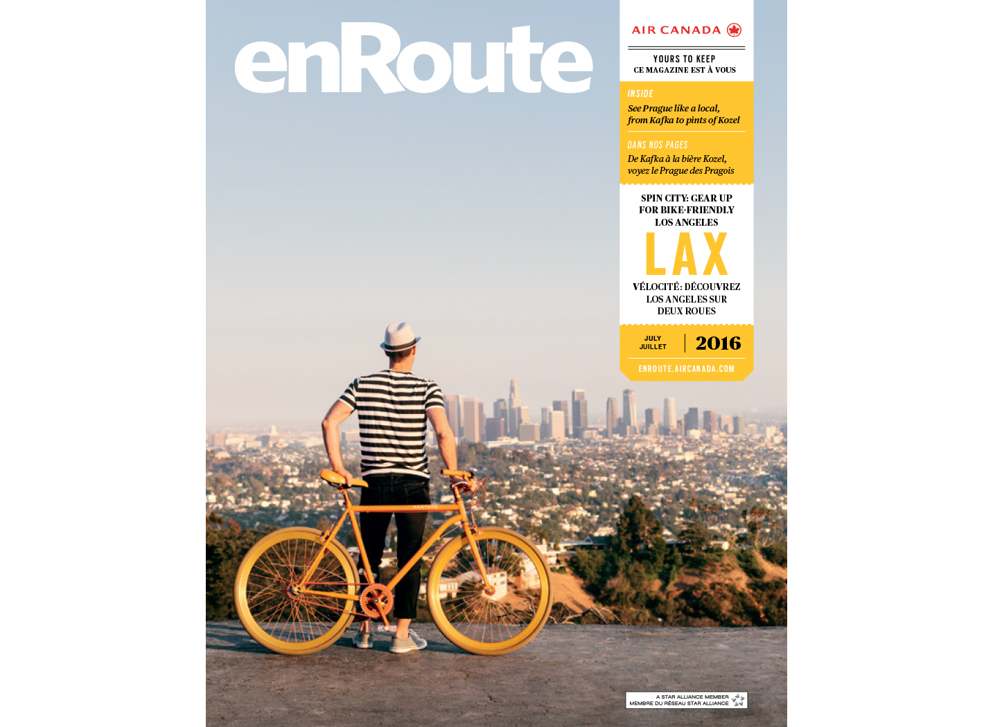 LA Biking photographed for the cover of enRoute Magazine. Brad Torchia is an LA-based editorial and commercial photographer.
