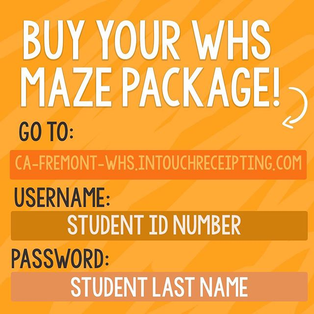 buy your whs maze package today !! username: student ID # password: last name in ALL CAPS  link in bio 🧡🐾 be sure to buy a class shirt ;)