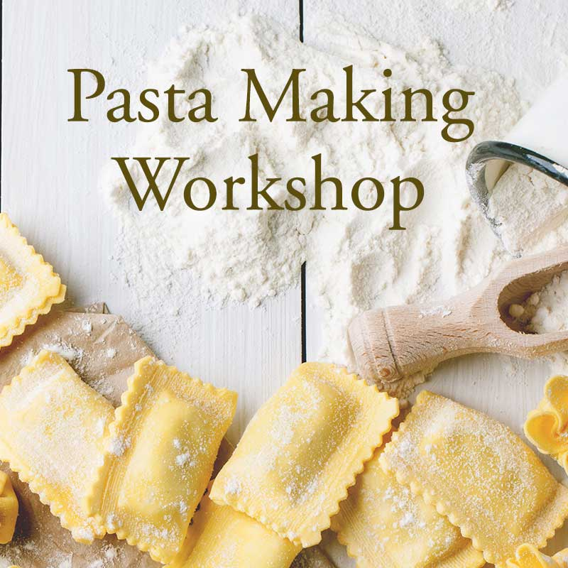We will study the Italian Ingredients, then the pasta making techniques. We will make a variety of pastas and fillings to include Ravioli, Tortellini, Fettuccine and we will eat a few finished dishes -