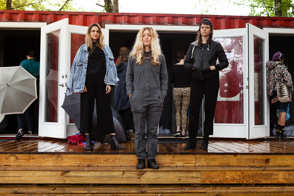Left to Right: Sara Santamaria, Allie Bashuk, Danielle Brutto, on the deck of AIR Serenbe's container studio, 2017.
