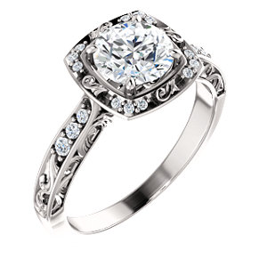 Harlow | Vintage Inspired Halo Style Engagement Ring