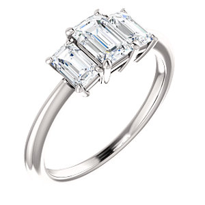 Savannah | Emerald Shape 3-stone Engagement Ring