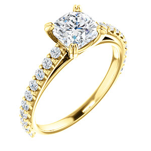 Cora | Double Prong Accented Engagement Ring
