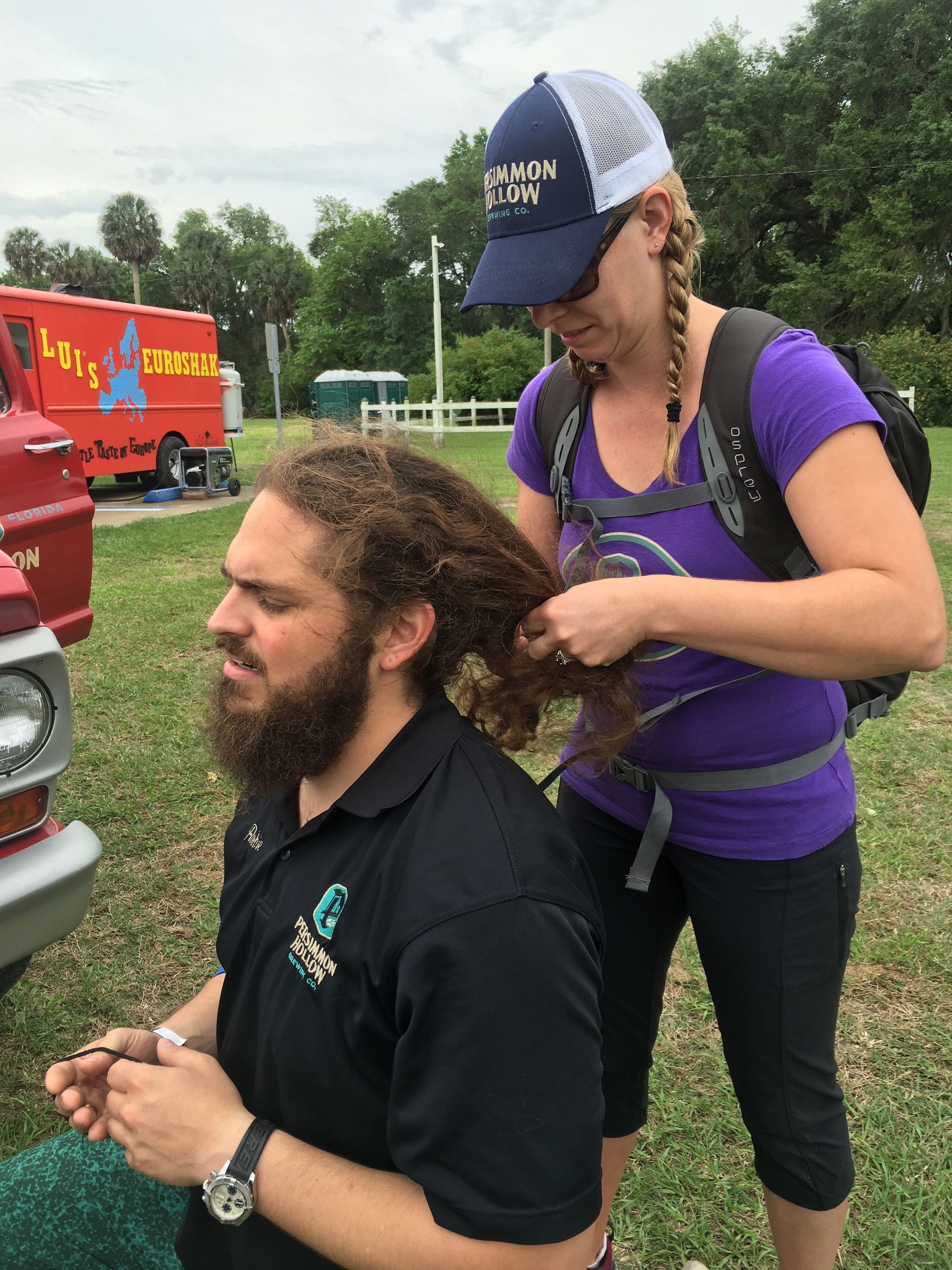 """Pictured: Team Arboreal Contact's """"Hair"""" getting his locks tight for the ensuing battle."""