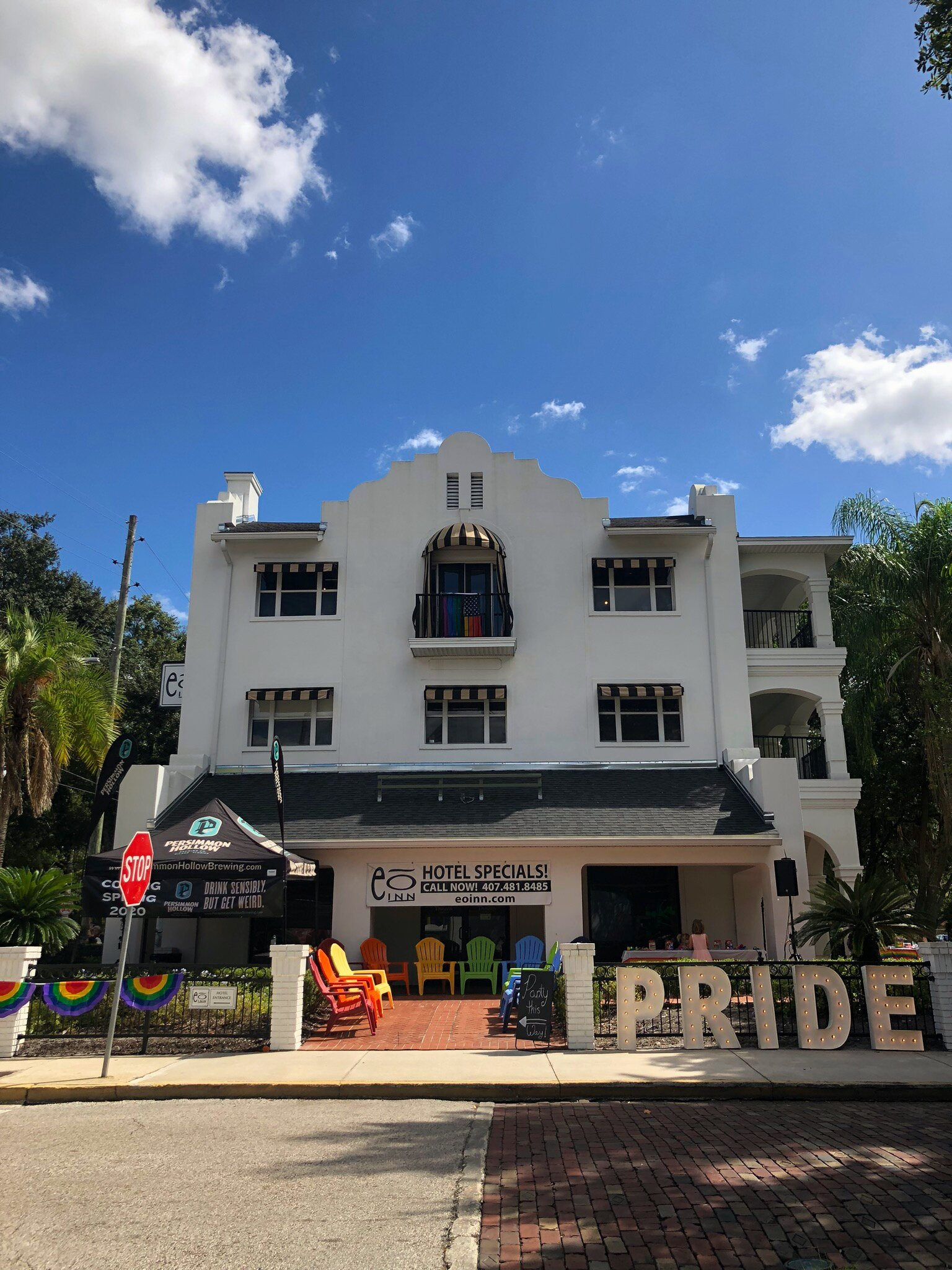 Pictured: The front of the EO Inn at the Come Out With Pride Orlando Festival on October 12th.