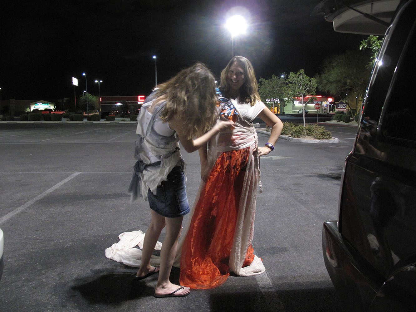 We meet Lisa in Vegas. We make her a dress in the car park. It is our last dress of the journey. She has introduced us to an incredible group of women that get me thinking about the women back home in Essex.