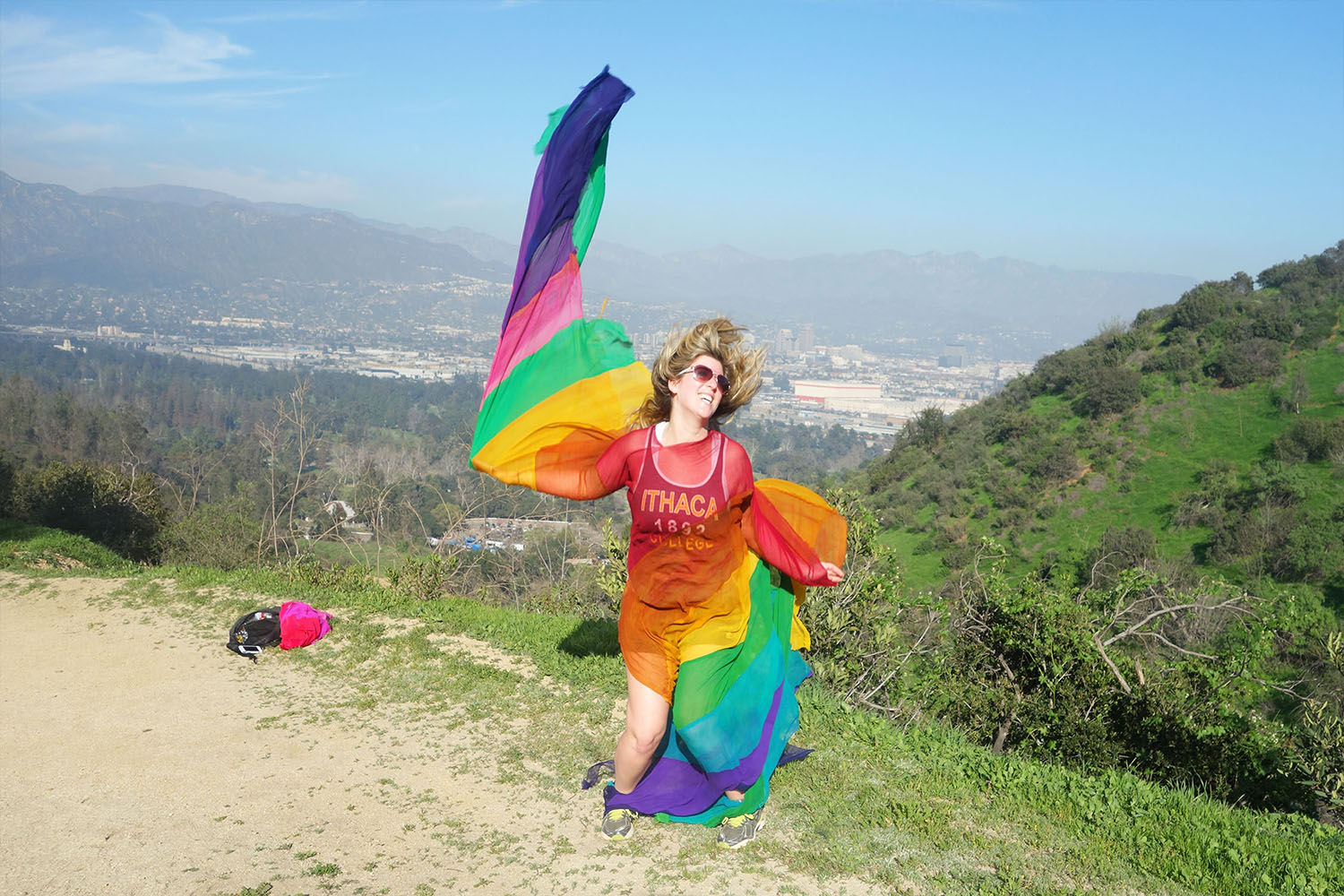 Felicity Brown Fashion Traveller Los Angeles Journeys dresses rainbow jesus