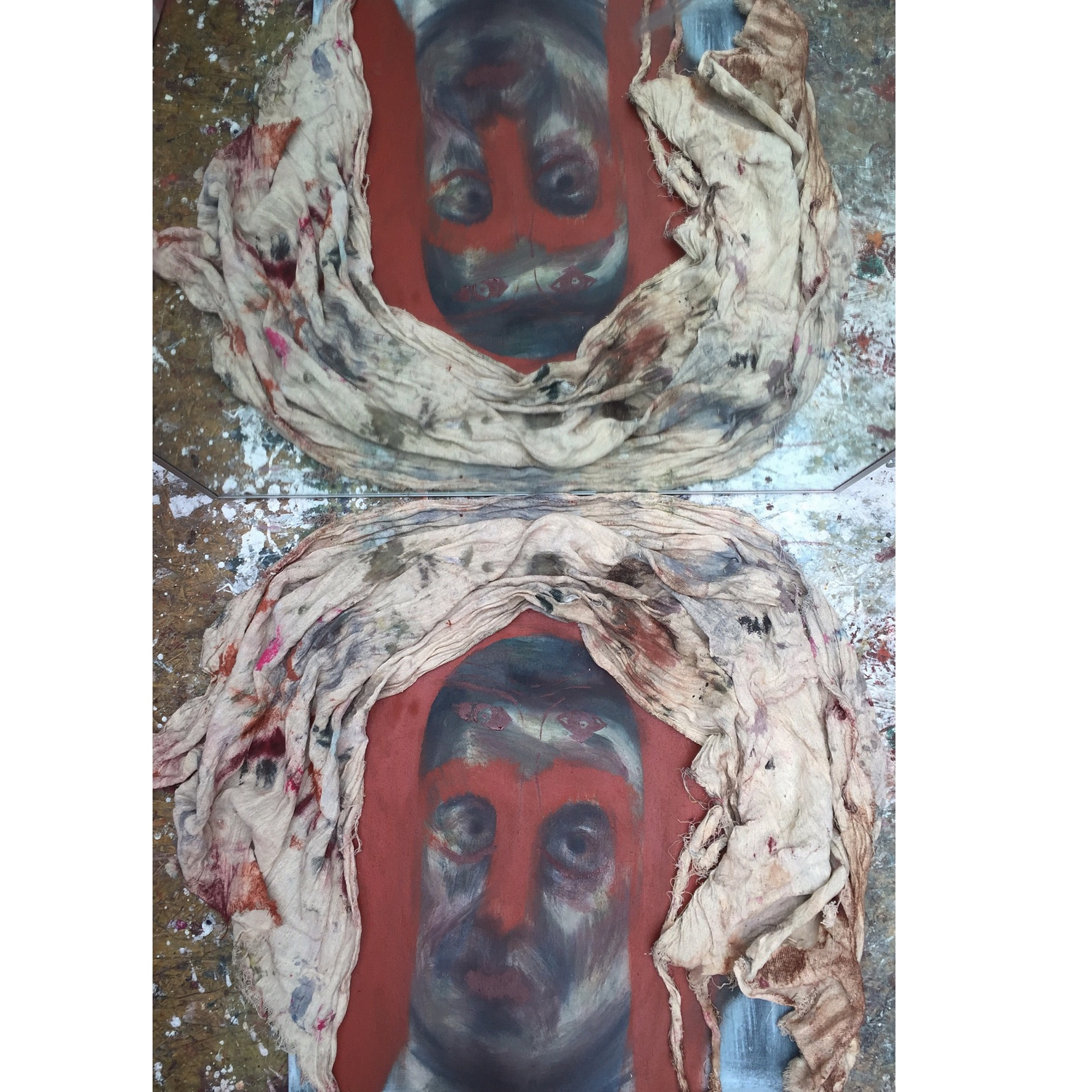felicity brown art painting oil on collage
