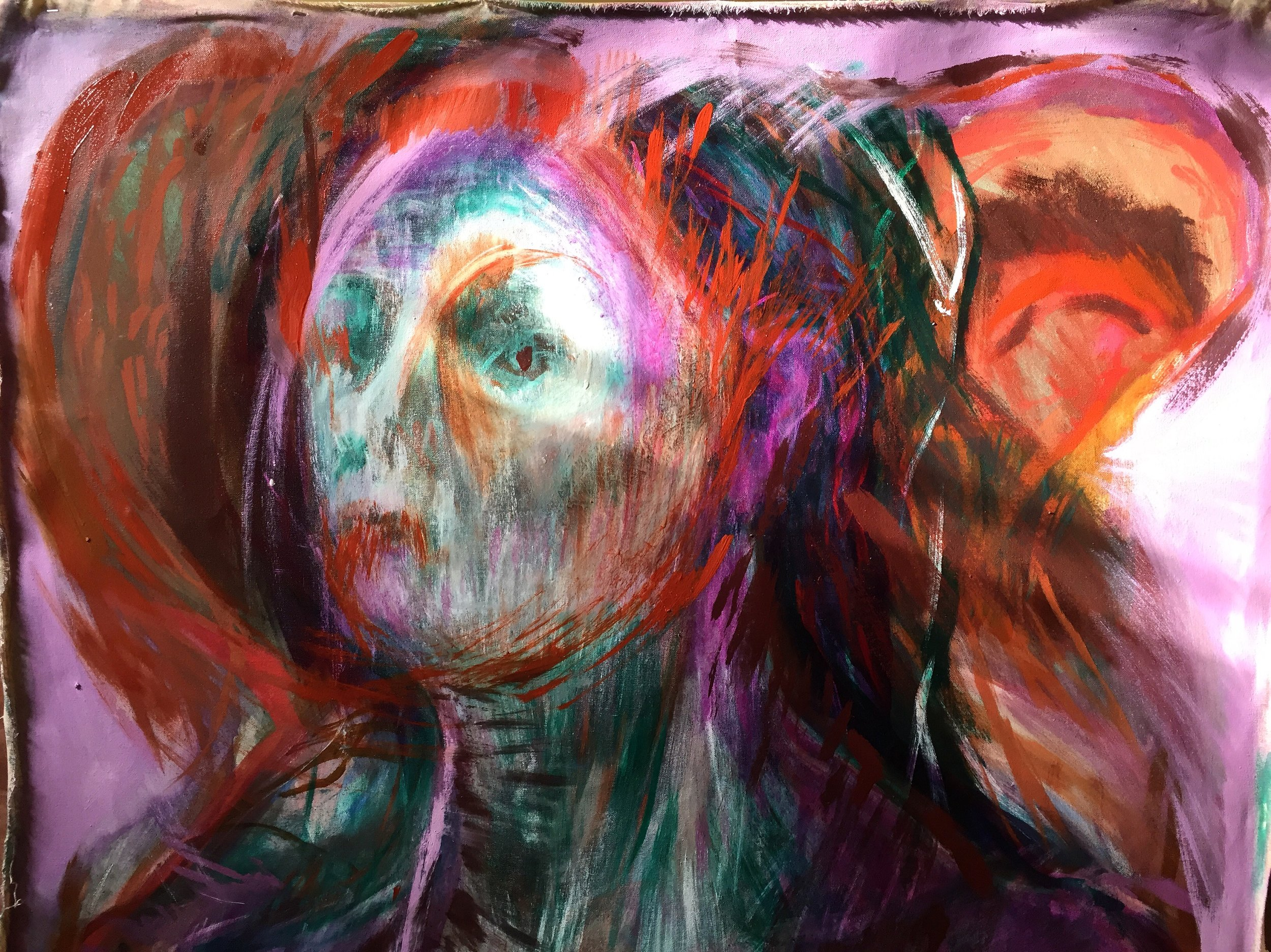 Felicity Brown painting, oil on canvas orange and blue. portrait woman