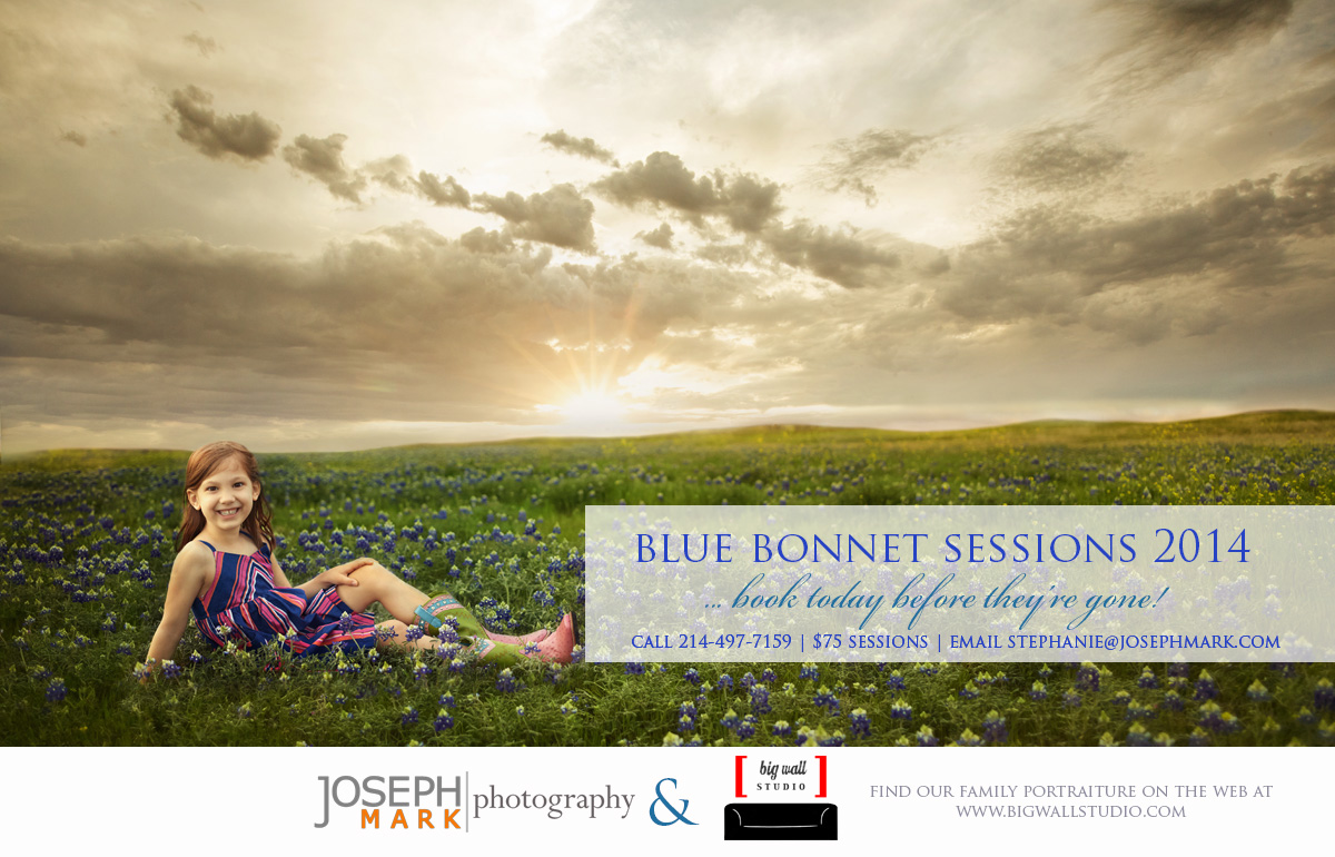 We just photographed our daughter (above) with some of the first blue bonnets of the year and we'd love to see you for a session this season. If you'd like to set something up give us a call 214-497-7159, do it soon before the season has ended!