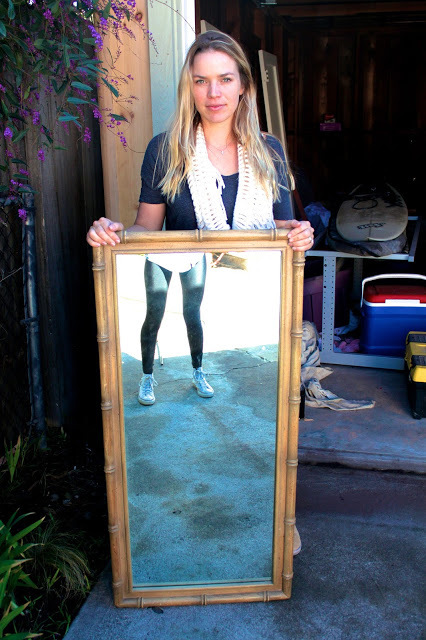 Bohiem bamboo mirror- was market at $45, we got him down to $25. A piece of glass this big is simply worth at least $100... For those of you who know how pricey mirrors are...
