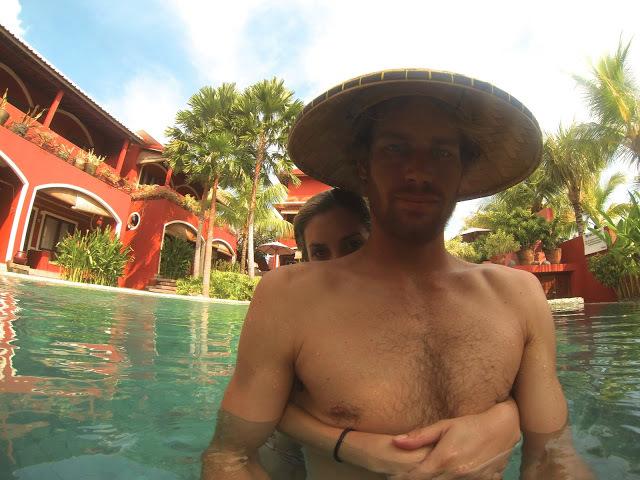 Go Pro selfies in the pool