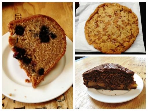 Blueberry Cardamon Bundt Cake, Chicken Cracklin' Cookie, Ginger Pear Cake
