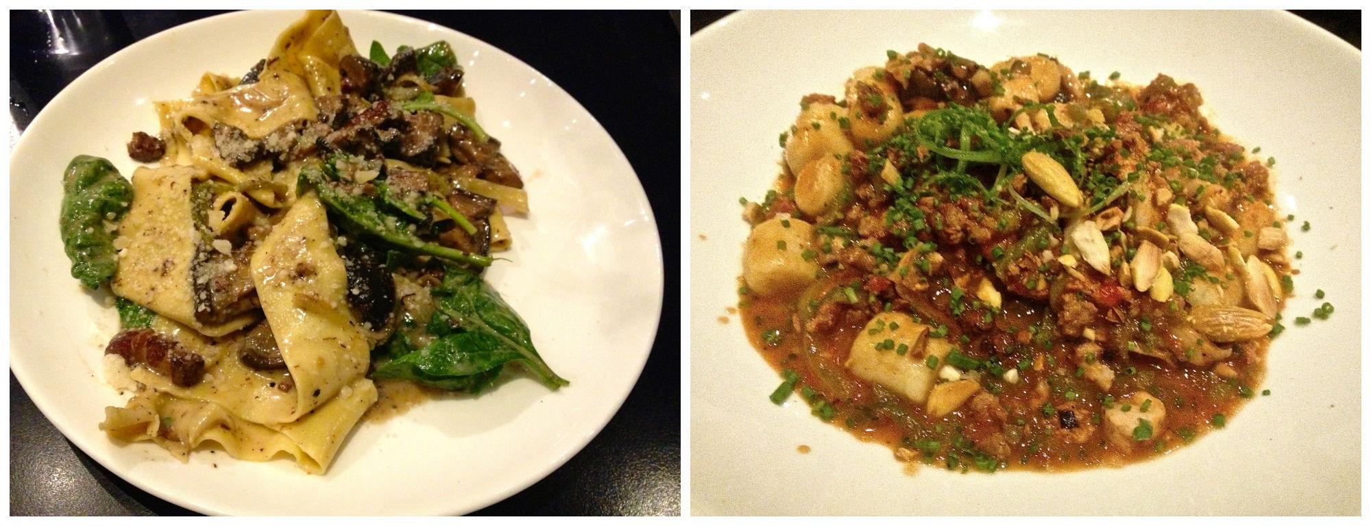 Shitake Sugo Pappardelle and Chickpea, Chorizo Gnocchi