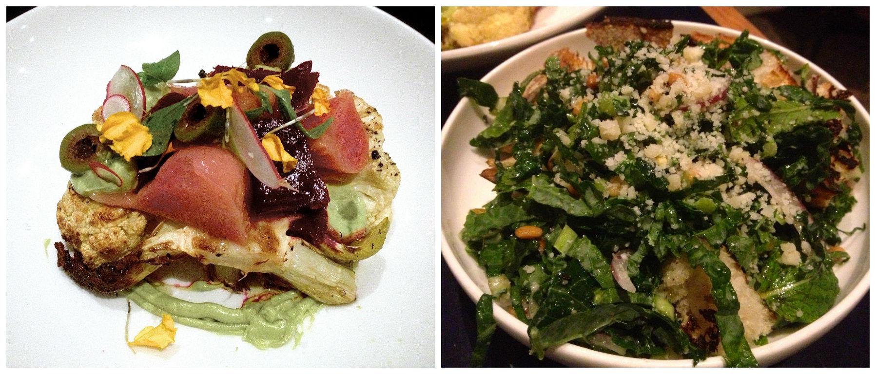 Cauliflower T-bone and Black Kale Salad