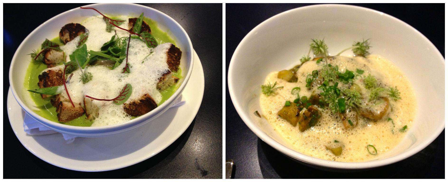English peas & Lardo Toast and Braised Octopus & Langoustine