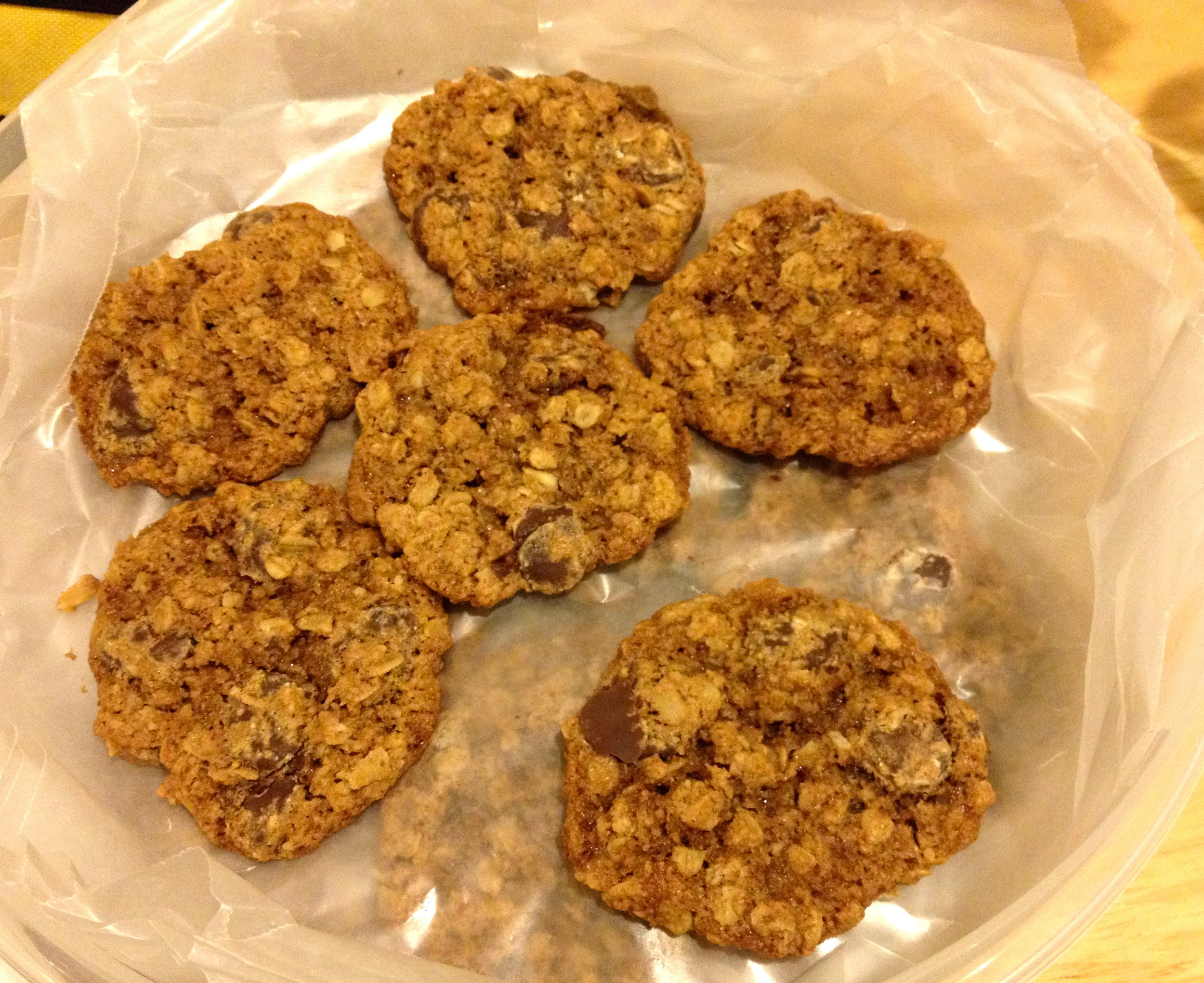 recipe:  whole wheat oatmeal chip cookies