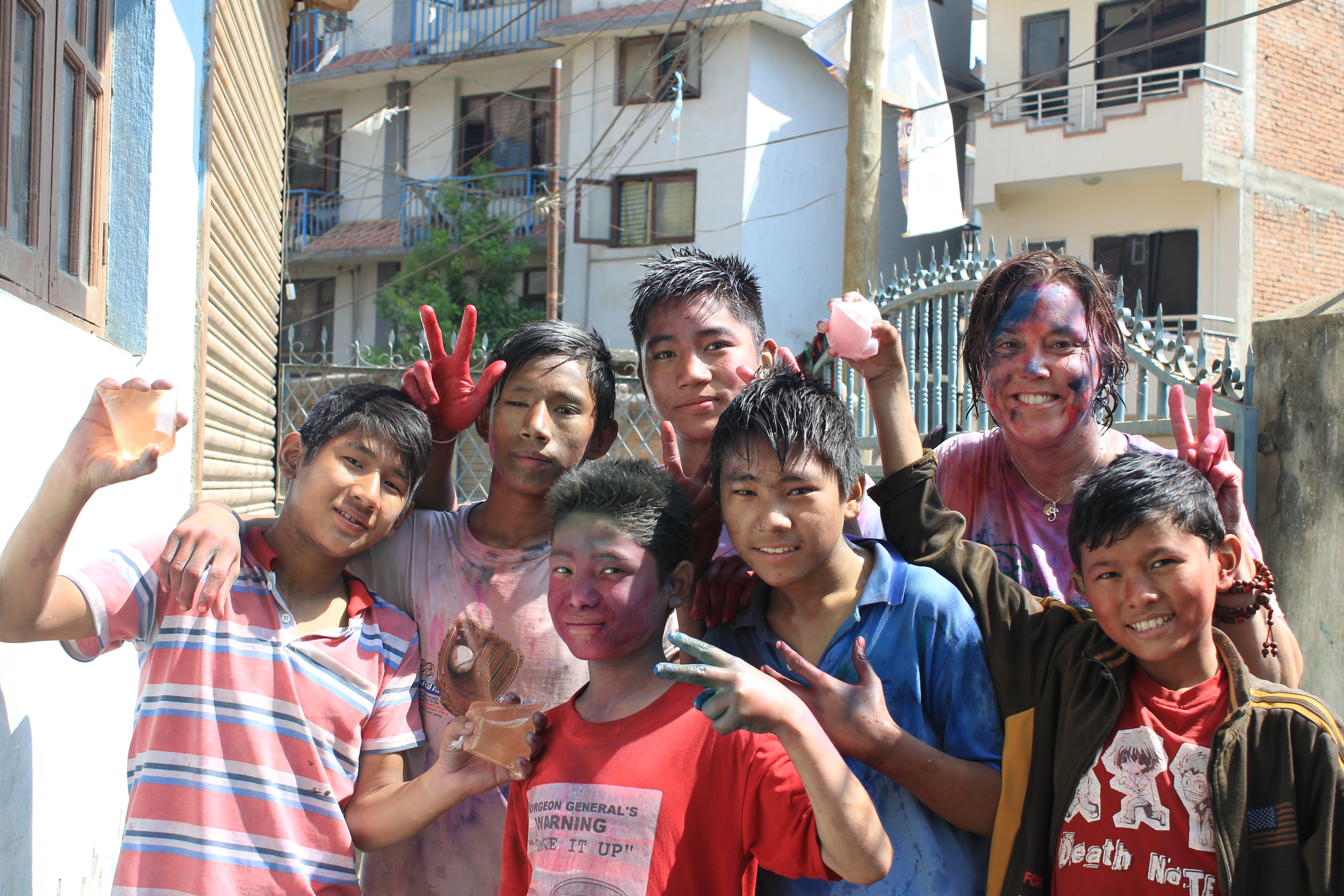 smothered with water bombs, colour&laughter