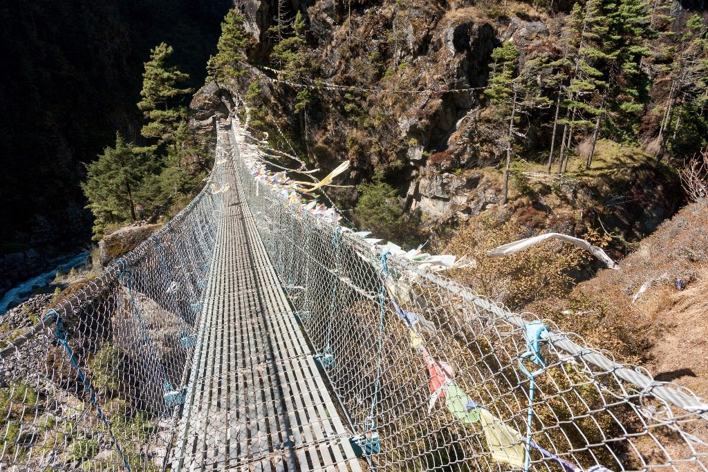 Suspension bridges shorten the daily hikes by making for an easier, albeit more hair-raising route.