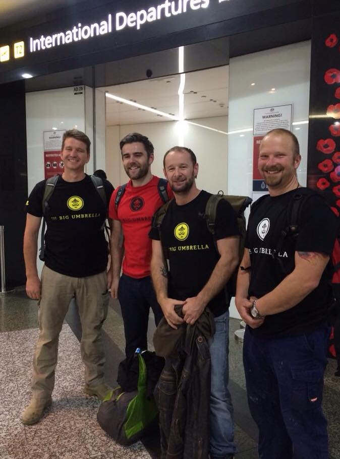 Macartan Gaughan and the team from The Big Umbrella departing for Nepal with emergency supplies