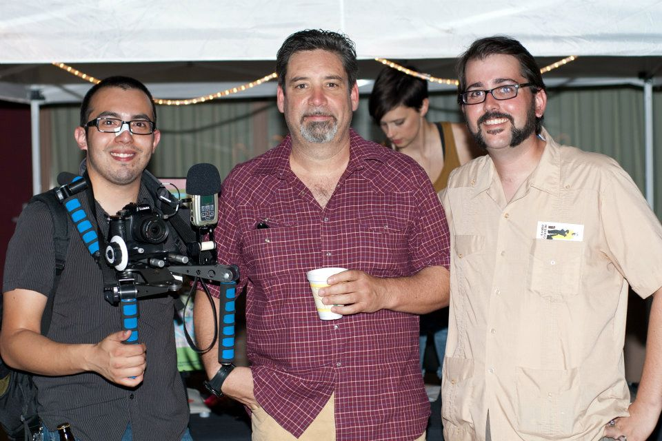 Chris and Andy with actor Robert Musgrave -Save the Bottle Rocket Motel 2011