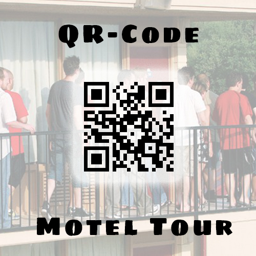 Take the Bottle Rocket Motel Tour whenever it's convenient for you. QR Codes will be placed around the motel's filming locations, scan the code and see a still from the scene.
